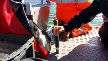 Sediment core (Φ 50 mm) obtained with the boat- operated sediment corer   Foto: S.Pfaff